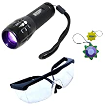 HQRP Profesional UV Flashlight 3W LED 390nm Wavelenght with Variable Focus and UV Protecting Safety Glasses with Clear Lens for Urine Detection / Inspection plus HQRP UV Meter