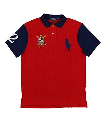 Polo Ralph Lauren Men's Big Pony Crest Custom Slim Fit Mesh Polo Shirt (Small, Red/Navy) (Polo Mens Crest)
