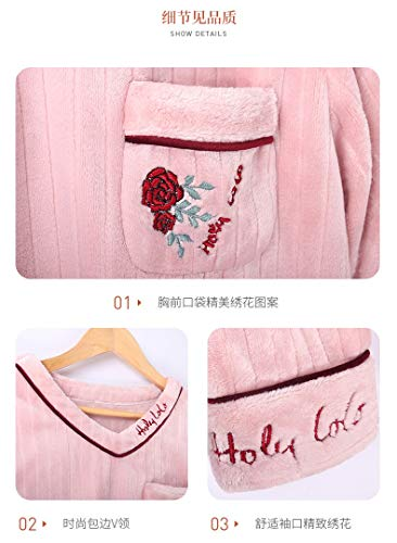 65kg 58 M150 Xl162 Autumn sleeved Pajamasx And Long Pajamas Service Women 30 Cardigan 162cm Coral Thick 50kg Home Flannel Fleece Winter 168cm Suit qBg1wnB