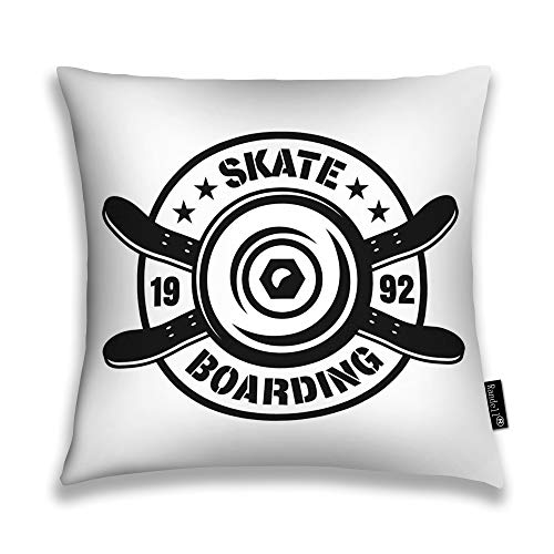 Randell Throw Pillow Covers Skateboarding Emblem Wheel Two Crossed Skate Decks Vintage Monochrome Style Home Decorative Throw Pillowcases Couch Cases 20
