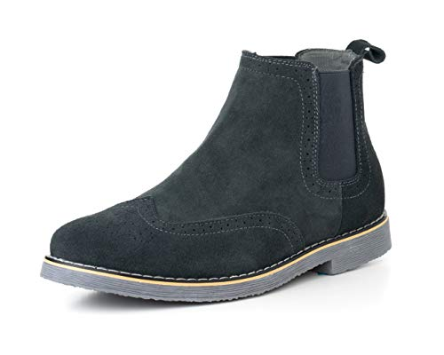 Image of alpine swiss Men's Chelsea Boots Genuine Suede Dress Ankle Boots Wingtip Shoes Gray 7 M US