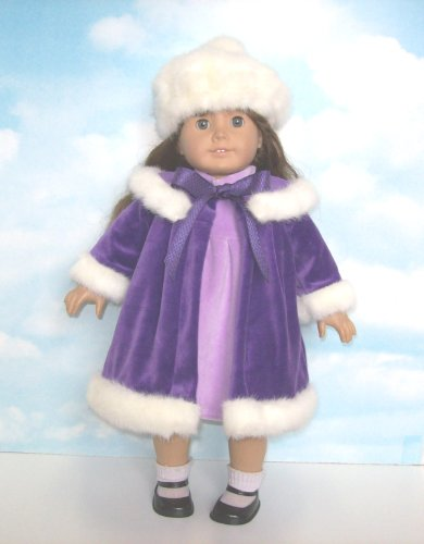 Purple Velvet Coat and Dress Set. Fits 18