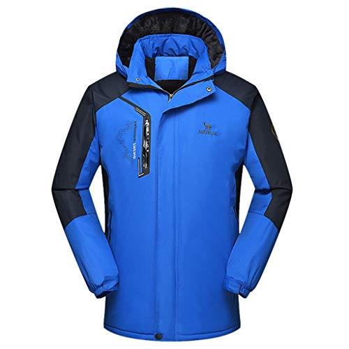 Hopwin Chamarra de esquí para Hombre, Impermeable, cálida, Cortavientos, Nieve, con Capucha, para la Lluvia, para Senderismo al Aire última intervensión, Azul, XX-Large