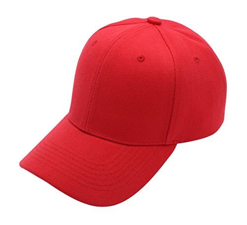 Top Level Baseball Cap Hat Men Women - Classic Adjustable Plain Blank, RED (Hat Last King Red)