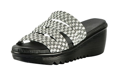 Heal USA Abigail Wedge Sandals Zigzag Band Black Outsole Silver 9 US