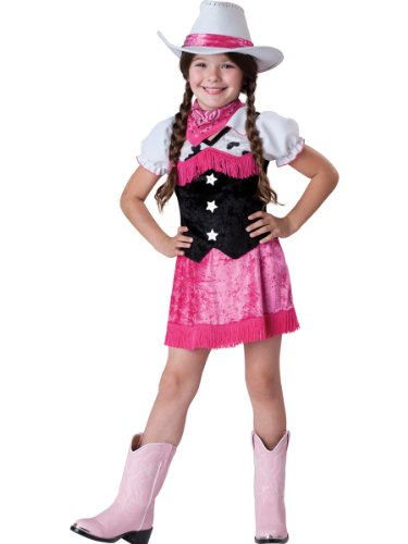 InCharacter Costumes Cowgirl Cutie Costume, White/Black/Pink, 4 (Pink Cowgirl Costume)