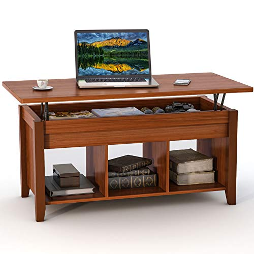 Flip Top Table Dining (Tribesigns Lift Top Coffee Table with Hidden Storage Compartment and Lower Shelf for Living Room (Walnut))