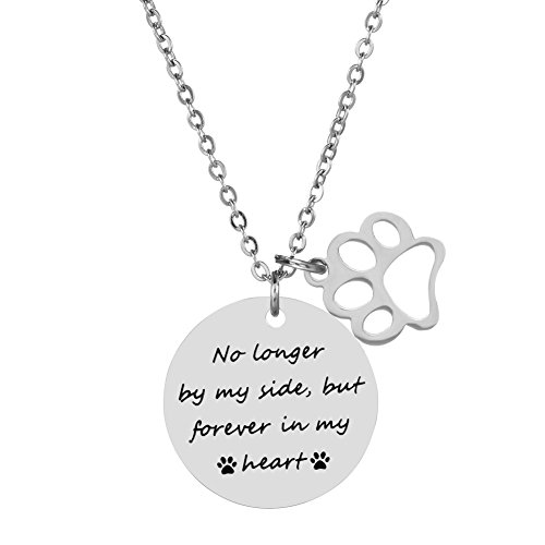 - Pet Memorial Necklace Dog Cat Hand Stamped Jewelry Paw Print Necklaces Gift For Pet Lovers