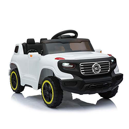 JAXPETY 6V Kids Ride On Car Truck w/ Parent Control 3 Speeds LED Headlights MP3 Player Horn (White) - Toy Headlight
