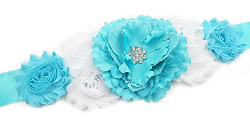 RoyaLily Poney Flower Sabby Maternity Pregnancy Sash Belt for Baby Shower Party (Blue)
