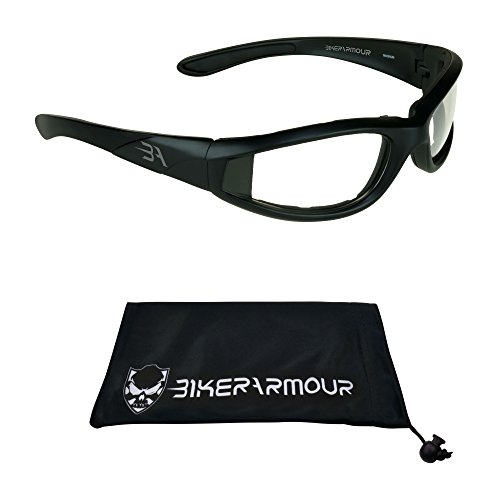 Motorcycle Transition sunglasses with polycarbonate photochromic Lens Clear to Smoke and Black Frame for men for women - Free Microfiber Cleaning ()