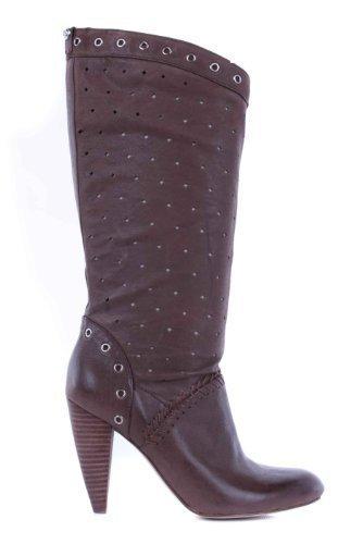 altos Guess Tacones Ladies Marrón genuino Cuero Boots q84tU8BF