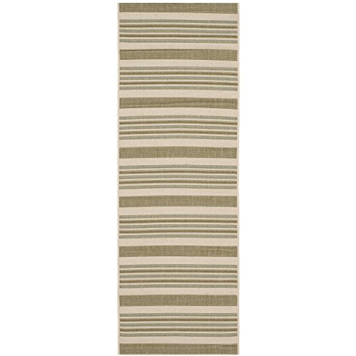 Safavieh Courtyard Collection CY7062-234A18 Beige and Green Indoor/Outdoor Runner (2'3