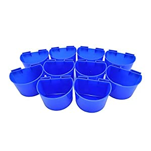 Accreate 10 pcs Cup Hanging Feed & Water Cage Cups for Quail Poultry Rabbit Pigeons 11