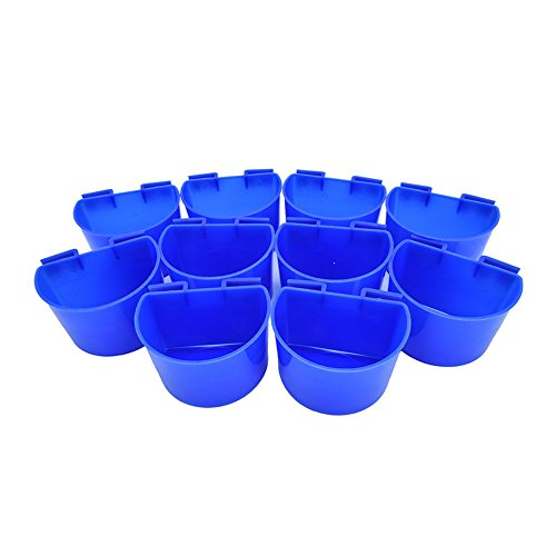Accreate 10 pcs Cup Hanging Feed & Water Cage Cups for Quail Poultry Rabbit Pigeons