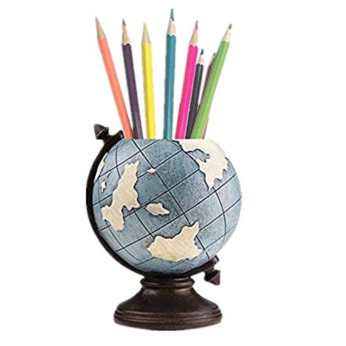 MUAMAX Globe Desk Pen Pencil Holder Stand Desk Organizer Home Office Stationary Box Storage Pot Container Kids Men Gifts Vintage Retro Decoration ()