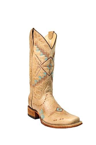 G Boot 12 Cowboy Naisten Kirjonta Corral Lounais Ympyrä Toe Päälle Neliön Tuuman Ahdistuneita Vedettävä Luu 65tOxxqwg