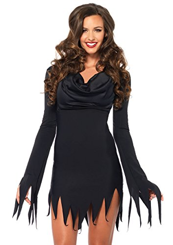 Leg Avenue Women's Cowl Neck Tattered Costume Dress Black, Small/Medium
