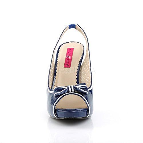 Higher Heels Pleaser Pink Label Womens Big Size Slingback Peep Toe Court Shoes Pinup-10 Blue Patent Blue Patent 80V8XHybx