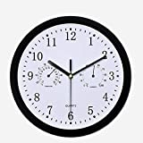 Wall Clock with Thermometer Hygrometer, 3 in 1 Thermometer & Hygrometer Combo Waterproof Garden Wall Clock, Silent Accurate Home Decoration Forecaster Clock10