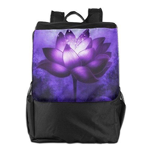 HSVCUY Women Backpack Lotus Strap Purple And Storage For Shoulder School Camping Personalized Outdoors Dayback Travel Adjustable Men 6x0wxr
