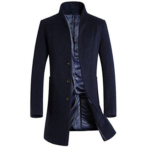 Marino lana de parte francés hombre abrigo Azul delantera Slim regalo ¡ negocios cloudstyle largo para Fit wqZ11R