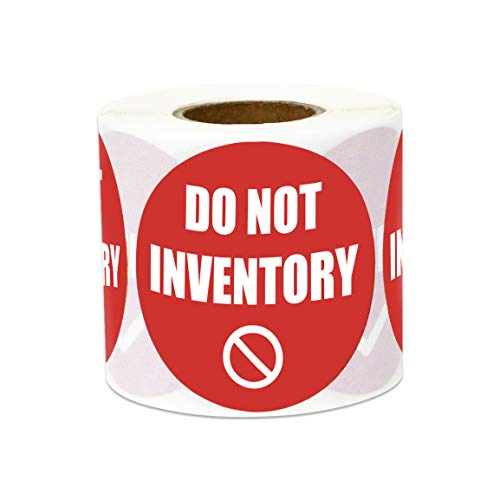 1200 Labels - Do Not Inventory Stickers for Quality Control, Inventory, Warehouse Receiving (2 inch, Round, Red, 4 Rolls)