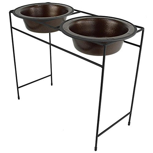 Platinum Pets Modern Double Diner Feeder with Stainless Steel Cat/Dog Bowls, Copper Vein, X-Large