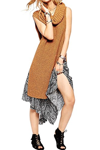 Azbro Women's Solid Turtle Neck Side Split Sleeveless Pullover Sweater (Split Neck Sweater compare prices)