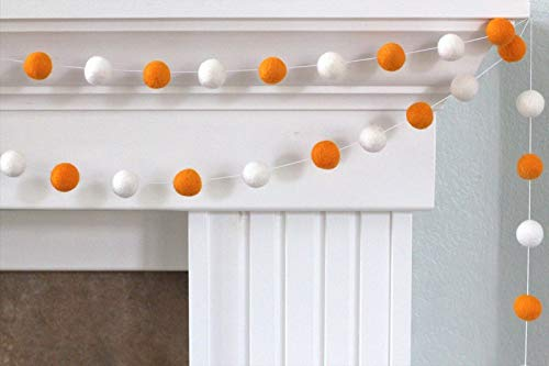 Orange & White Felt Ball Garland- Halloween Autumn Fall Home Decor