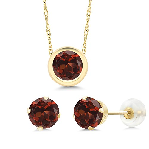(Gem Stone King 3.00 Ct Round Red Garnet 14K Yellow Gold Pendant Earrings)