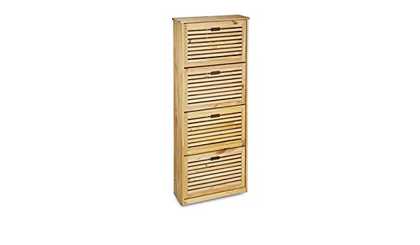 amazoncom relaxdays shoe rack made of pine wood size x 55 x 20 cm shoe closet shoe storage chest with 4 that tip forward shoe holder