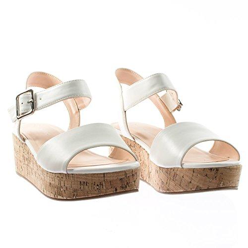 By Klassifisert Retro Kork Flat Plattform Flatform Sandal M Ankel Strap Hvit