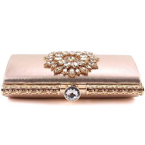 """Chichi Oro Diseño Mano Bolsos Lizy"""" De Mujeres Adornado Flores Unze Imitación Tallados Bolsas Embragues Diamantes De Brillo Del Boda De De Superiores De Cartera Noche De P4qgz"""