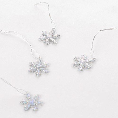 Factory Direct Craft Package of 24 Silver Glitter Covered Tiny Plastic Snowflake Ornaments for Tree Trim, Home Decor, and Holiday ()