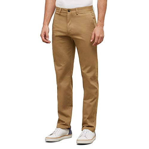 Kenneth Cole REACTION Men's Solid Stretch Eco Chino Flat Front Slim Fit Casual Pant, Camel, 33x32 -