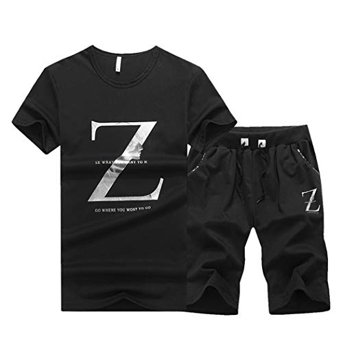 Men's Casual 2 Piece Outfits Short Sleeve Crewneck Shirt& Shorts Jumpsuit Set Black (Best Casual Outfits For Men)