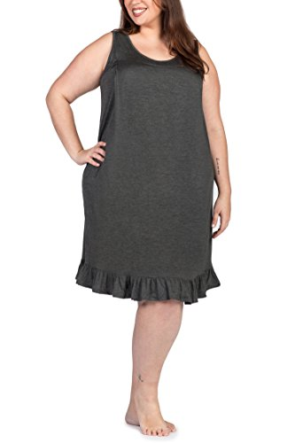 Savi Mom Plus Size Nursing/Breastfeeding Maternity Nightgown Sleepwear Dress (1X, Charcoal Grey)