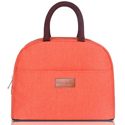 BALORAY Lunch Bag Tote Bag Lunch Organizer Lunch Holder Insulated Lunch Cooler Bag for Women/Wen (Orange) (Orange Lunch)