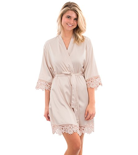 VEAMI Annabelle Lace Satin Robe, Short Robe for Women- Cameo- Small