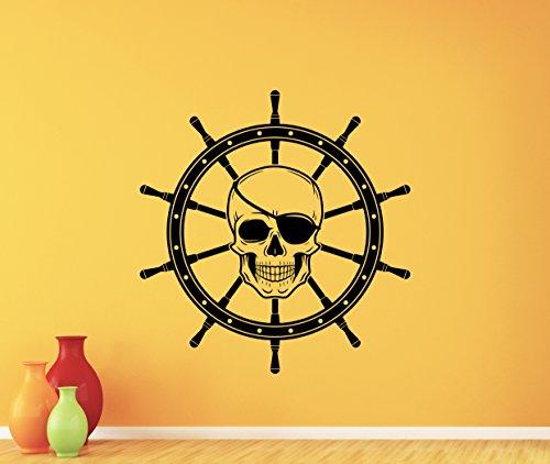 Skull Steering Ship Wheel Wall Decal Pirate Dead Skeleton Skull Logo Vinyl Sticker Halloween Horror Wall Decor Cool Wall Art Living Room Wall Design Modern Bedroom Wall Decor Mural 317xxx ()
