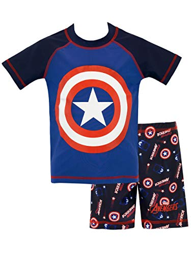 Marvel Boys' Captain America Two Piece Swim Set Size 18M Blue