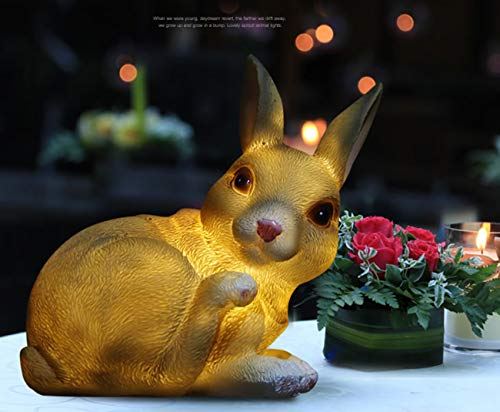 Obell Solar Lights Bunny Statue Outdoor Garden Decor Night Lights, Low Voltage, 3000K Warm Light, Rechargeable Battery, Rabbit Garden Ornament (Bunny)