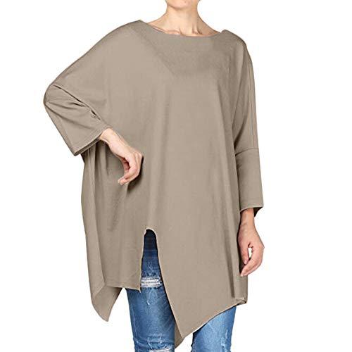 Caqui largos de Aimee7 redondo Tops Mujer irregulares Cuello manga Camiseta suelta Blusa larga q7wOtx0Y