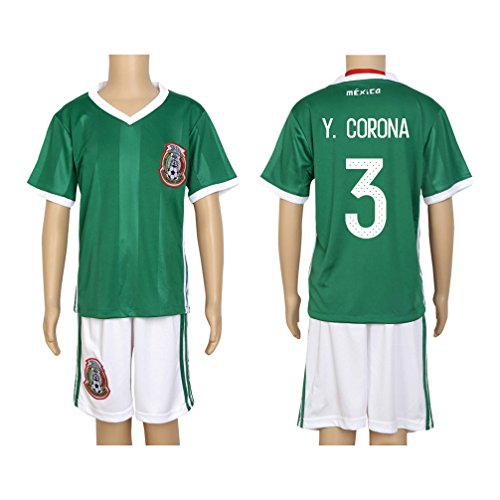2016 Copa #3 Y. Corona Green Home Kids Soccer Jersey & Short Kit Set