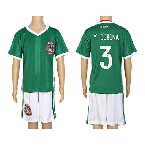 - 2016 Copa #3 Y. Corona Green Home Kids Soccer Jersey & Short Kit Set
