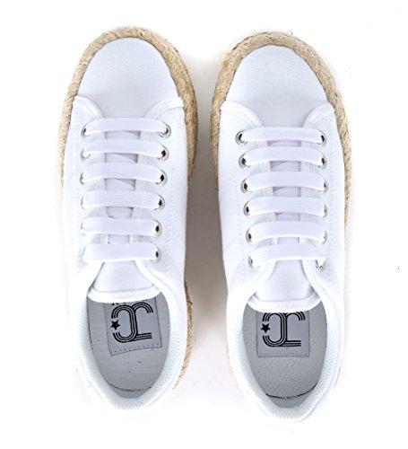 JC PLAY donna sneakers piattaforma ZOMG JUTE Wite 40 Bianco-Cord
