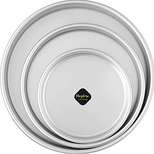Meqstore Bakeware Aluminium Set of 3 Round Cake Baking Moulds | Cake Tin | Cake Pan for 500-2000 Grams Non Stick (Combo 6,7,8 Inch) for Oven Price & Reviews