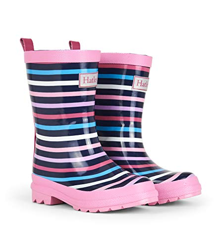 Hatley Girls' Big Printed Rain Boots, Colorful Stripes, 2 US