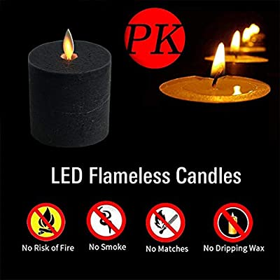 smtyle Black Flameless Candles Flickering Realistic Bright Pillar Candle Light with Remote Control Timer Battery Operated 3in Pack of 5